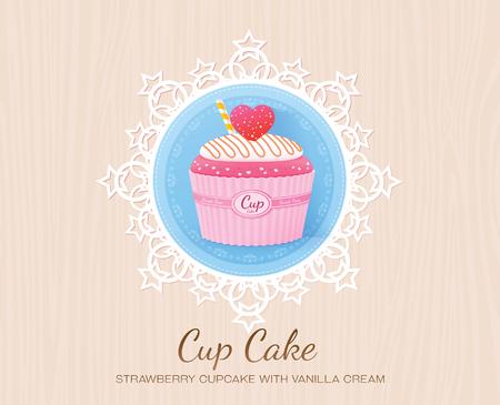 Cupcake à la fraise à la vanille Banque d'images - 76299009