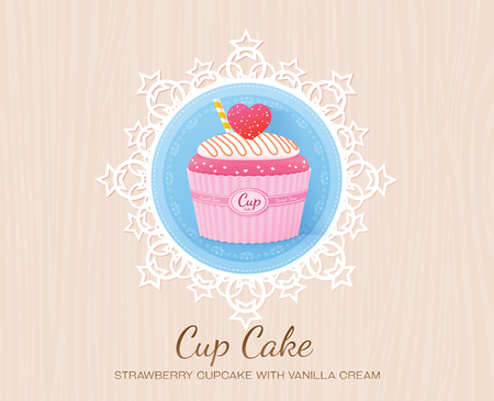 strawberry cupcake with vanilla cream Illustration