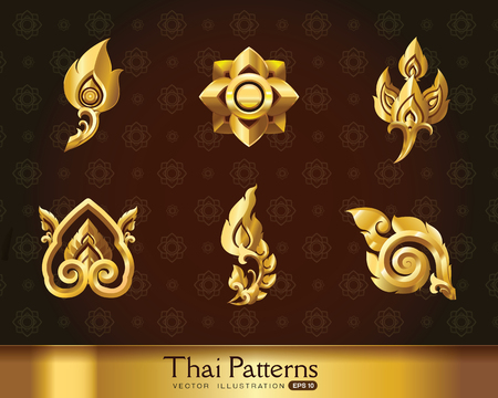 Thai art pattern vector set Illustration