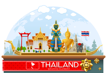 thailand landmark and art background 일러스트