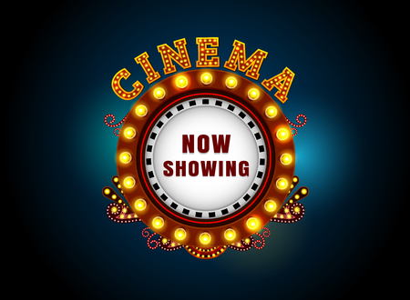 Theater sign circle.Brightly theater glowing retro cinema neon sign. Vettoriali