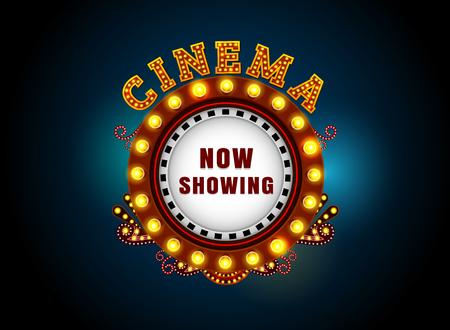 Theater teken circle.Bightly theater gloeiende retro cinema neon teken.