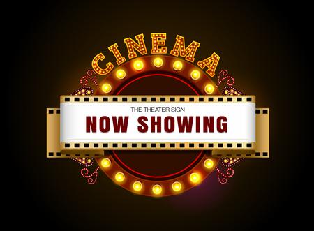 Théâtre signe. Spectacle de théâtre lumineux rétro enseigne au néon de cinéma. Banque d'images - 76075621