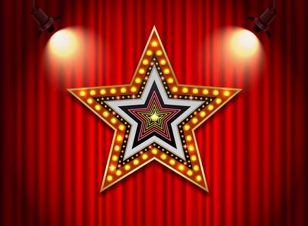 Brightly theater glowing retro cinema neon sign star shape.