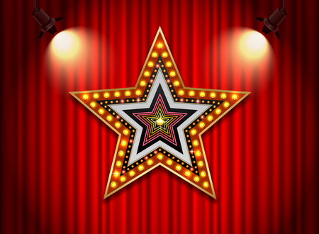 Brightly theater glowing retro cinema neon sign star shape.
