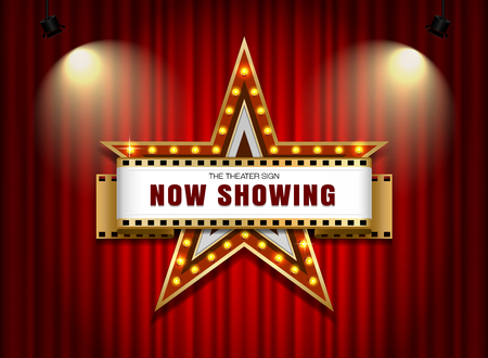Theater sign star shape on curtain.