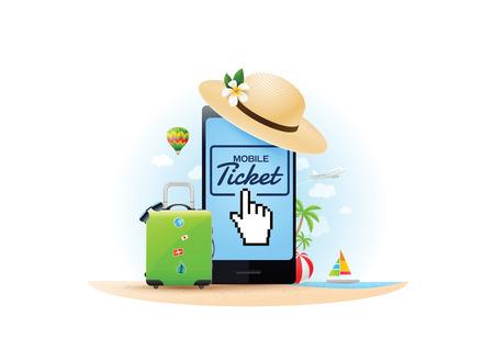 Travel online ticket.