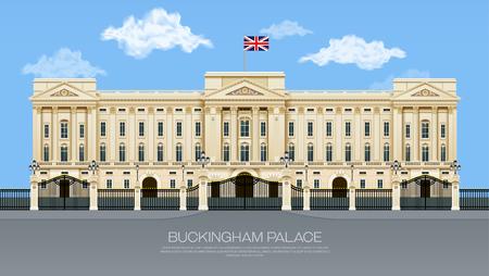 영국 버킹엄 궁전 구름 메쉬 그라데이션 개체 벡터 일러스트와 함께 일러스트