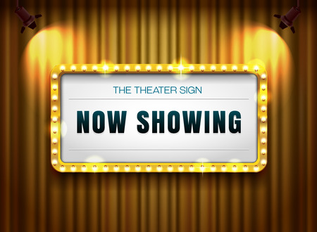 A theater sign gold frame on curtain with spotlight vector illustration Illustration