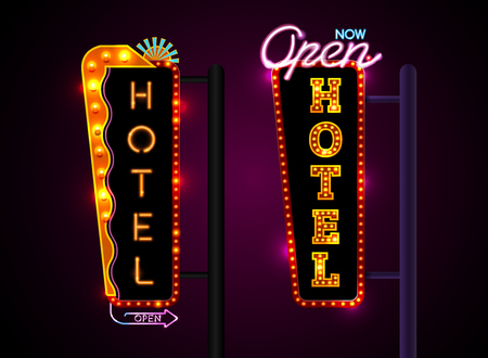 Neon sign city banner hotel, set vertically horizontally text, Vector illustration Ilustrace