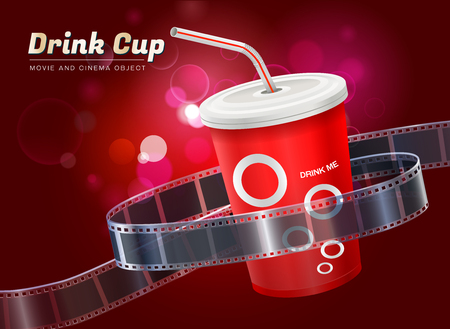drink cup cinema movie theater object on bokeh background vector illustration