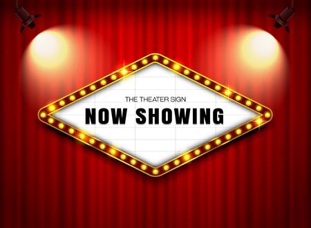 スポット ライト ベクトル図が付いているカーテンの劇場のサイン  イラスト・ベクター素材