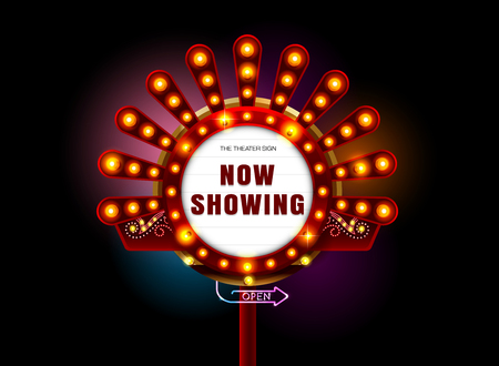 theater sign and neon light vector illustration Banco de Imagens - 78685659