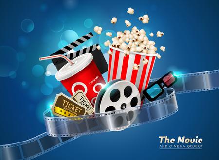 cinema movie theater object on sparkling light background vector illustration Illustration