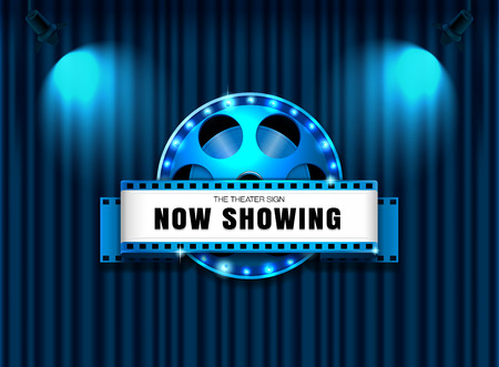 theater sign film roll on curtain with spotlight vector illustration 矢量图像