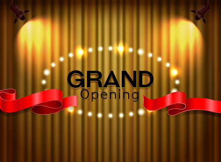 Grand opening cutting red ribbon on curtain with spot light vector illustration Illustration