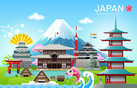 japan landmark travel object vector illustration vector illustration