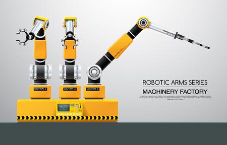 Industrial machine robotic robot arm hand factory vector illustration