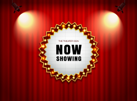 theater sign on curtain with spot light illustration