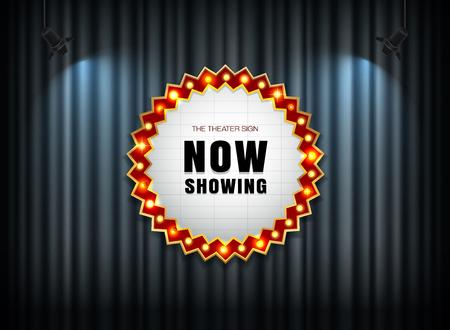 theater sign on curtain with spot light vector illustration Vettoriali