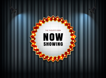 theater sign on curtain with spot light vector illustration Иллюстрация