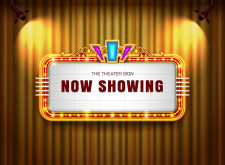 Theater sign retro on curtain with spotlight background vector illustration Иллюстрация
