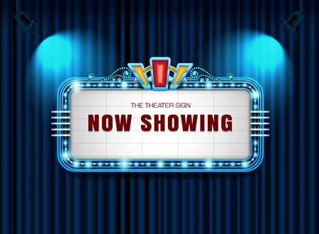 Theater sign retro on curtain with spotlight background vector illustration Illustration