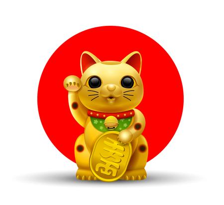Japan lucky cat.Maneki.Neko cat.gold vector illustration Vettoriali