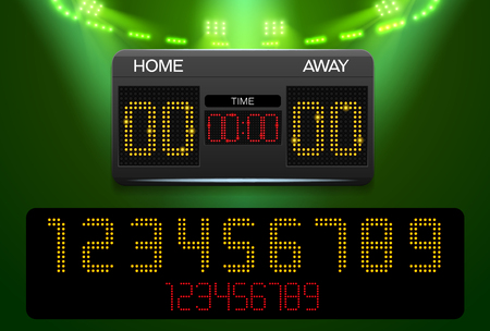 Scoreboard with time result display and spotlight vector illustration Vectores