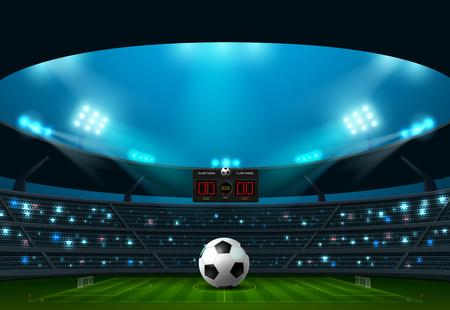 soccer football with scoreboard and spotlight vector illustration Illustration