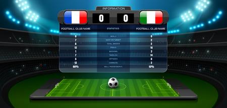 penalty: Mobile football stadium and spotlight vector illustration