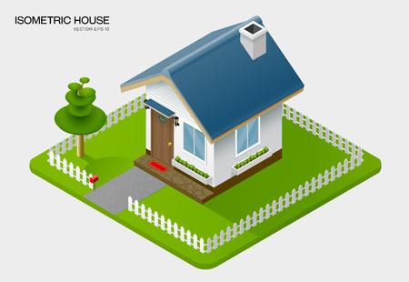 isometric house on ground vector illustration