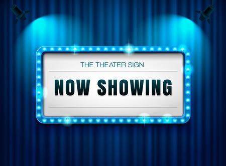 カーテン、今上映中の劇場のサイン