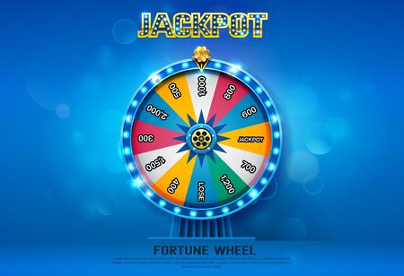 Fortune wheel spinning  on bokeh background vector illustration.