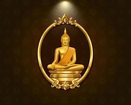 Modèle de frontière de cadre art thaïlandais et statue de budha salut illustration vectorielle de détail Banque d'images - 87218816