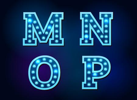 Light font alphabet text bright vector illustration