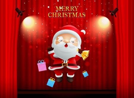 santa claus merry christmas happy newyear on stage background curtain with spotlight vector illustration