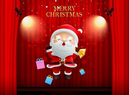 kerstman vrolijk kerstfeest gelukkig Nieuwjaar op het podium achtergrond gordijn met spotlight vectorillustratie