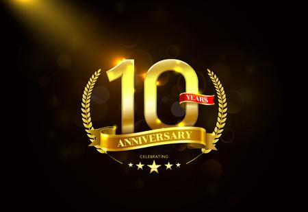 10 Years Anniversary with laurel wreath Golden Ribbon vector illustration