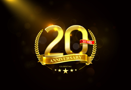 20 Years Anniversary with laurel wreath Golden Ribbon .