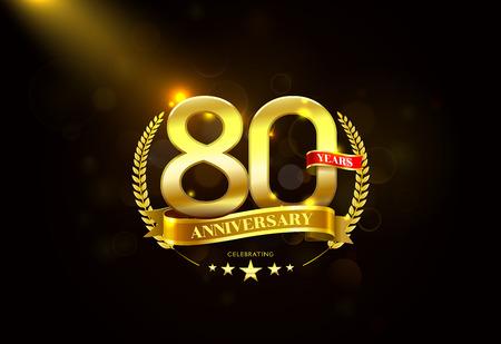 80th: 80 Years Anniversary with laurel wreath Golden Ribbon. Illustration