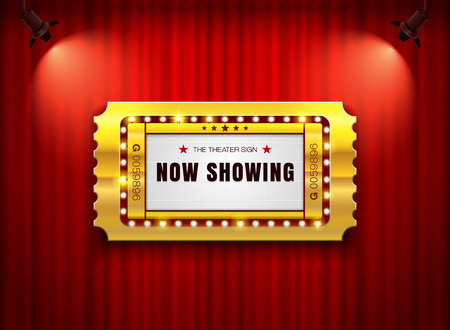 theater sign ticket on curtain with spotlight background vector illustration