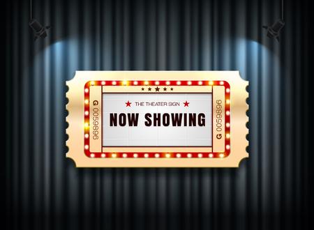 スポットライトの背景ベクトルイラストとカーテンの劇場サインチケット  イラスト・ベクター素材