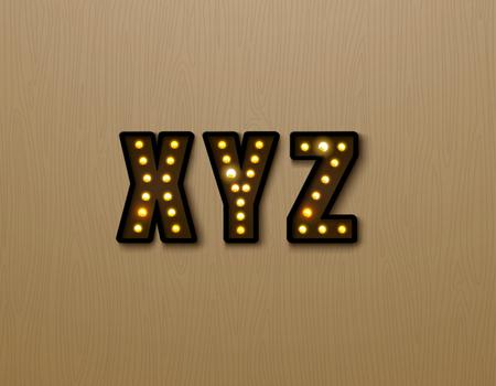 Bulb light font on wood pattern vector illustration