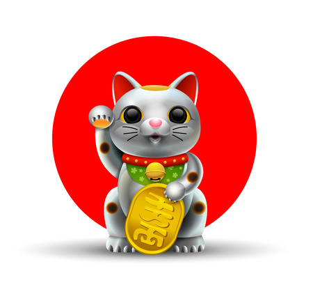 Japan lucky cat. Maneki Neko cat. Gold silver, vector illustration.