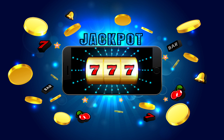 jackpot lucky wins golden slot machine casino on mobile phone with light background vector illustration
