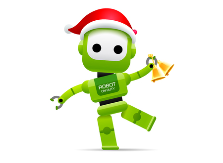 Robot Santa Claus merry Christmas happy new year vector illustration.