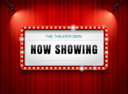 Théâtre signe sur rideau Banque d'images - 93838304