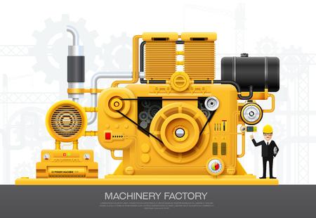 Industrial machine engine Factory construction equipment engineering vector illustration Ilustracja