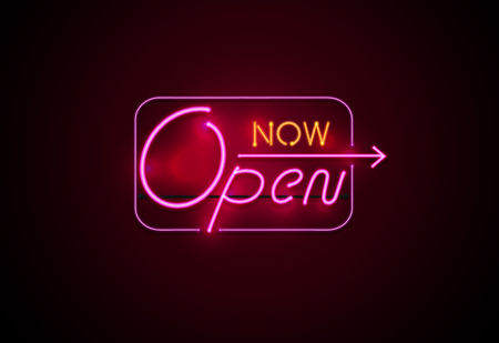 neon sign open now glowing on wall background vector illustration